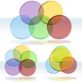 conjunto del diagrama de 3D Venn Fotografía de archivo