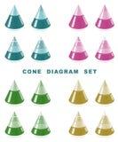 Conjunto del diagrama del cono. Fotos de archivo libres de regalías