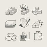 Conjunto del dinero y de la joyería del icono Imagen de archivo