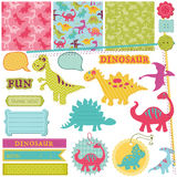 Conjunto del dinosaurio del bebé stock de ilustración