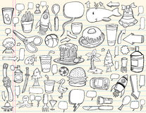 Conjunto del diseño del Doodle del cuaderno Imágenes de archivo libres de regalías