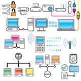 Conjunto del diseño del establecimiento de una red, de la conectividad y de la tecnología Foto de archivo