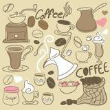 Conjunto del Doodle del café Imagen de archivo libre de regalías