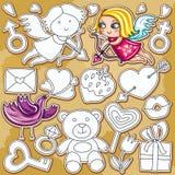 Conjunto del doodle del día de tarjeta del día de San Valentín Fotografía de archivo