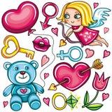 Conjunto del doodle del día de tarjeta del día de San Valentín Fotos de archivo