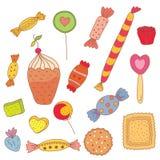 Conjunto del dulce de los caramelos, galletas Imágenes de archivo libres de regalías