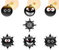 Conjunto del ejemplo de bombas de la historieta ilustración del vector