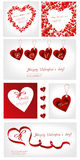 Conjunto del ejemplo de las tarjetas del día de San Valentín Fotos de archivo