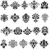 Conjunto del emblema del damasco Imágenes de archivo libres de regalías