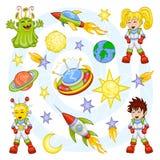 Conjunto del espacio exterior de la historieta stock de ilustración