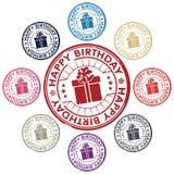 Conjunto del feliz cumpleaños de sellos Fotografía de archivo