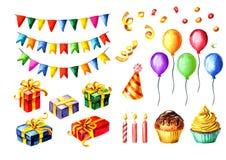 Conjunto del feliz cumpleaños Las guirnaldas coloridas, cajas de regalo, globos, casquillos del cumpleaños, velas, se apelmazan E stock de ilustración