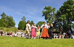 Conjunto del folklore de Suecia fotografía de archivo