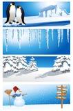 Conjunto del fondo del invierno Imágenes de archivo libres de regalías
