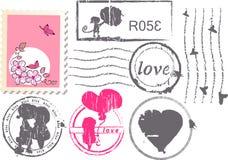 Conjunto del franqueo del amor Foto de archivo libre de regalías