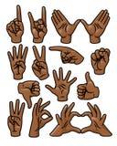 Conjunto del gesto de mano ilustración del vector
