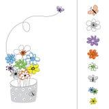 Conjunto del gráfico de vector con las flores coloreadas Imagen de archivo libre de regalías