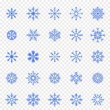 Conjunto del icono del copo de nieve 25 iconos del vector embalan ilustración del vector