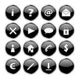 Conjunto del icono de 16 botones negros Fotos de archivo libres de regalías