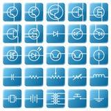 Conjunto del icono de circuitos eléctricos. Foto de archivo libre de regalías