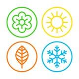 Conjunto del icono de cuatro estaciones Fotografía de archivo libre de regalías