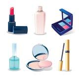Conjunto del icono de elementos cosméticos Stock de ilustración