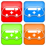 Conjunto del icono de la ambulancia Imagen de archivo
