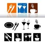 Conjunto del icono de la barra y del restaurante Foto de archivo libre de regalías