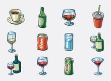 Conjunto del icono de la bebida Foto de archivo