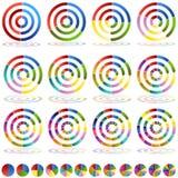 Conjunto del icono de la blanco de la carta de la rueda de la flecha Imagenes de archivo