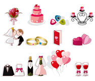 Conjunto del icono de la boda de la historieta Imagenes de archivo