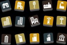 Conjunto del icono de la ciudad ilustración del vector