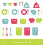Conjunto del icono de la cocina Fotografía de archivo libre de regalías