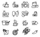 Conjunto del icono de la comida Fotos de archivo libres de regalías
