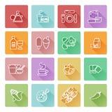 Conjunto del icono de la comida Imágenes de archivo libres de regalías