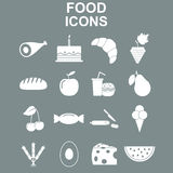 Conjunto del icono de la comida Foto de archivo libre de regalías