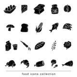 Conjunto del icono de la comida Ilustración del vector negro Imagen de archivo libre de regalías