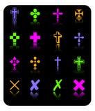 Conjunto del icono de la cruz del color del vector Stock de ilustración