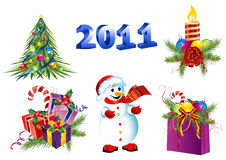 Conjunto del icono de la decoración de la Navidad del vector Fotografía de archivo libre de regalías