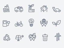 Conjunto del icono de la ecología stock de ilustración