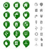 Conjunto del icono de la ecología y del ambiente Imagenes de archivo