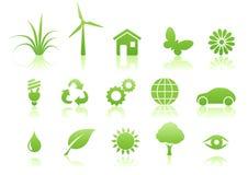 Conjunto del icono de la ecología Fotografía de archivo libre de regalías