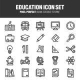 Conjunto del icono de la educación stock de ilustración