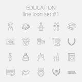 Conjunto del icono de la educación ilustración del vector
