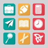 Conjunto del icono de la educación Imagen de archivo libre de regalías