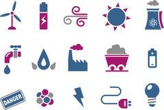 Conjunto del icono de la energía stock de ilustración