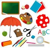 Conjunto del icono de la escuela Imagen de archivo libre de regalías