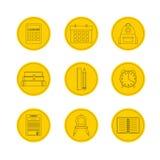 Conjunto del icono de la escuela Iconos del ejemplo del vector Foto de archivo