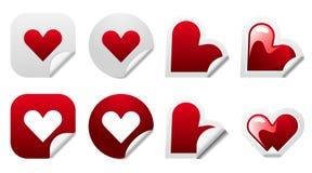 Conjunto del icono de la etiqueta engomada del corazón de la tarjeta del día de San Valentín Imágenes de archivo libres de regalías