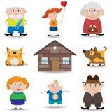 Conjunto del icono de la familia stock de ilustración